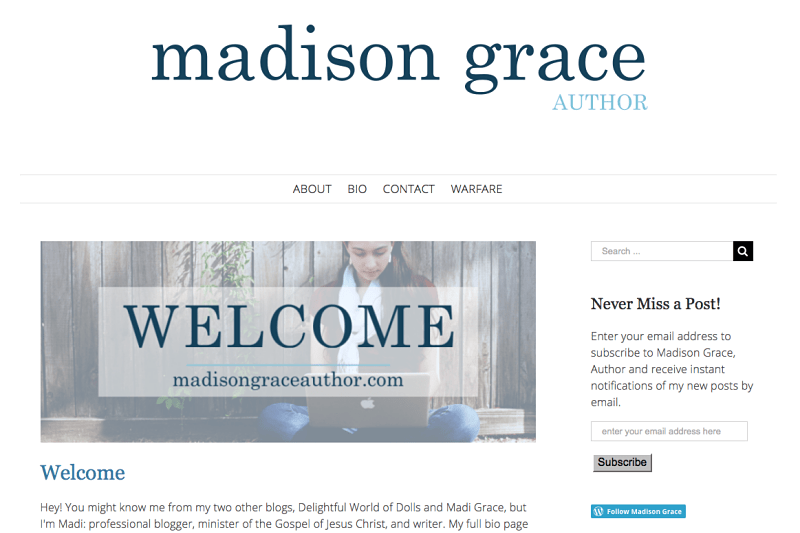 Check Out My New Writing Blog: Madison Grace!