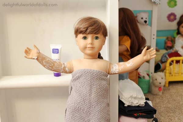 remove american girl doll stains